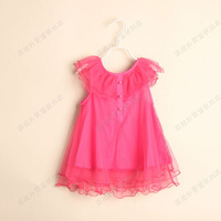 D051501*2013 Flower Neck Dress Girls Kid Children Baby Girl Dress 6 Pcs/Lot