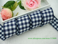 "Wholesale 100% Polyester White and Dark Blue Gingham Ribbon Craft Ribbon Gift Ribbon,1-1/2""(38mm) Width,Free Shipping"