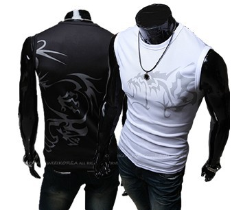 FREE Shipping Slim Fit Men Sleeveless T-shirt Summer Casual Shirts Wolf Tattoo Eyelet Fabric T-shirt Vest,White,black,M,L,XL,XXL