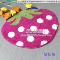 Cartoon flock printing mats strawberry mats doormat slip-resistant pad bath mat 50 65 chromophous