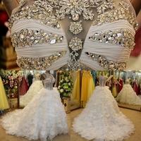 Dmr042 Dreamaker High Neck Transparent Top Ball Gown Vintage Western Wedding Dresses