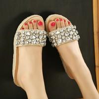 2013 elegant female rhinestone fashion flip-flop slippers wedges platform diamond slippers