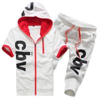 2013 spring cbv color block with a hood sports set slim with a hood short-sleeve men's set sweatshirt