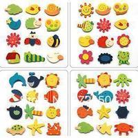 Freeshipping - cartoon wooden refrigerator stickers Fridge Magnets 12pcs/set animal refrigerator stickers