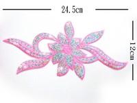 Sequined fabric applique embroidery paste flowers paillette handmade flower multicolor
