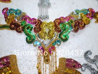 Gold Sequin Hair accessory  trims flower paillette applique patches beads gold and silver