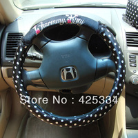 Free Shipping New Lovely Cute Hello Kitty Lovely Black with White Point Steering Wheel Cover 38CM