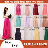 Cheap price High quality Fashion Womens Candy Color High Waist Elastic Waist Chiffon Full Long Maxi Skirts 80/90/100cm 19colors