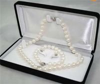 8-9MM White A Akoya Cultured Pearl Necklace Bracelet Earring Set