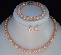 8-9mm AAA Pink Akoya Pearl Necklace Bracelet Earring Sets