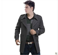 Free Shipping!  2013 Autumn And Winter Fashion Big Sze Men's Slim Was Thin Windbreaker Jacket Double-b Breasted Brown Woolen