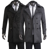 Free Shipping Winter New Casual Men's Slim Double-Breasted Trench Coat  Woolen