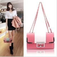 Candy color block small bag handbag vintage chain messenger bag female bags 6812