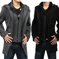 Free Shipping! Autumn and winter new Korean large yards thick hooded men Slim coat jacket and long sections