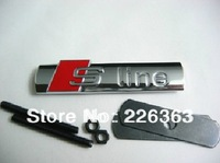 Free shipping  S-line 3D Metal Front Hood Grille Badge Grill Emblem Auto Stickers