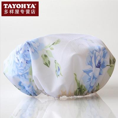 Rose shower cap blue powder waterproof terylene shower cap(China (Mainland))