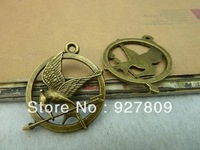 Free Delivery  Diy Ancient Bronze Single Face Bird- Badge 25mm 30pcs/lot Jewelry Accessories