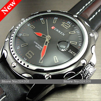 Wholesale! 2013 New Fashion Luxury Curren Men Man's Quartz Stainless Steel Watch Leather Band With Auto Date Waterproof
