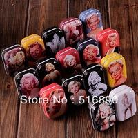Free Shipping! 32pcs/lot European Vintage Marilyn Monroe  Mini Tin Box Storage Case Jewelry Box pill case 16 designs collectable