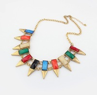 Wholesale Lots Vintage Jewelry, Women's Acrylic Alloy Big Irregular Geometric Golden Necklaces Free shipping