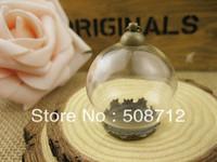Free shipping!GGP00026 50sets/lot 25mm Glass Globe Pendant Locket Charm opening 15mm +bronze crown pendant base+large rings