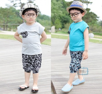 Boy Girl Children Kids' Two Piece Outfit T Tee Shirt & Pirate Shorts Pants Set