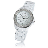 Sinobi watch the trend of female white diamond watch personality fashion table fashion ladies watch rhinestone table