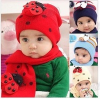 Hot Sale!Fashion New Children's Baby's Winter Warm Hat  Skullies Beanies Newsboy Caps + Scarf Suit Cute Free Shipping