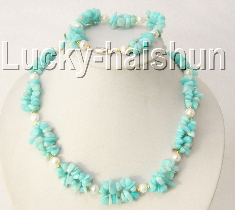 "17"" 8"" chip green jade stone white pearls necklace bracelet set(China (Mainland))"