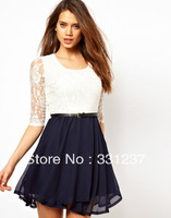 Sexy Spoon Neck 3/4 Sleeve Lace Sakter Dress Belt Include Free Shipping Hot sale
