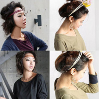 Free shipping (5 pieces/lot)  fashion hair band double layer leather hair band neon knitted elastic headband hair band