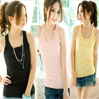 FREE SHIPPING new,hot 2013 spring and summer women's fashion basic slim small vest lace decoration vest female  WHOLESALE