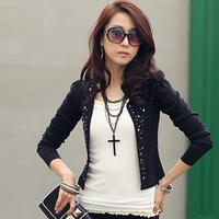 New Hot Free Shipping 2013 Spring Women'S Plus Size Rivet Ol Outfit Slim Long-Sleeve Rhinestones Blazer Suit Jacket Female