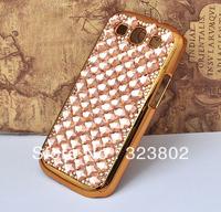 Handmade Bling Crystal Rhinestone Chrome Gold Hard  Case Cover For Samsung GALAXY S3 or III i9300 / S4 or IV i9500
