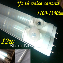 100pcs/lot led tube t8 1200mm sensor 12w 6000k 1100-1300lm 85-265v Hot sale body IR sens led tube sensor tubes Free shipping(China (Mainland))