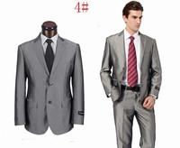 Anti-wrinkle shining grey men's business suit