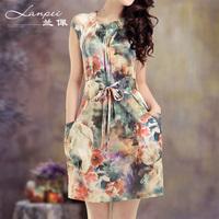 2013 summer women's silk print mulberry silk short-sleeve silk one-piece dress