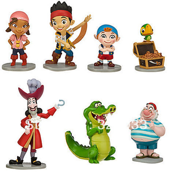 2013 Cartoon New Set 7pcs Jake and the Never Land Pirates Figure Christmas Gift Free shipping