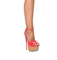 Free Shipping 2013 GZ Orange Red Suede Platform Sandals maxi bow ankle strap 18CM high heel sexy sandals Evening Party Shoes
