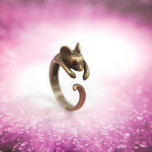 E1052 queer accessories zodiac women's small mouse ring finger ring(China (Mainland))