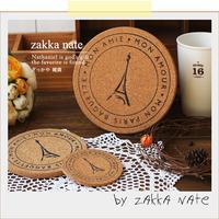 Japanese style zakka cork pot mat heat insulation pad bowl pad placemat eiffel tower print coasters