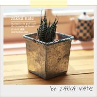 Zakka retro finishing small flower pot square metal flower fleshier plant props