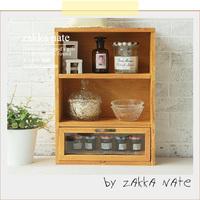Zakka japanese style storage cabinet glass drawer double layer cabinet diaogui desktop