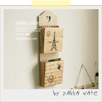 Zakka wood letter holder graphite paper box wall hanging home decoration eiffel tower postmarked