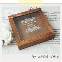 Zakka vintage 7building glass wooden box jewelry box storage box storage box