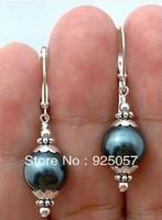 Handmade Beautiful Black shell Pearl Silver Hook Earring Fashion jewelry