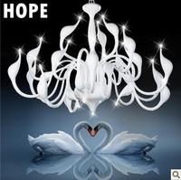 hot selling 15 light fashion Swan chandelier modern lamp wholesale swan legend  glass material