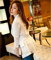 #NXZ0006 Free Shipping 2013 New Arrival Slim Long Designer One Button Blazer Patchwork Chiffon Top Outerwear Woman Jacket