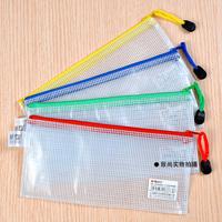 12 Pcs Pvc Grid File Zipper Bag B6 Document Bag (Random Color)