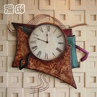 Wall clock personality watch iron musical metal wall clock unique bedroom wall clock  hanging clock